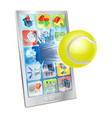 tennis ball flying out cell phone vector image vector image