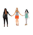three beautiful women hold hands no background vector image