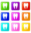 tooth icons 9 set vector image vector image