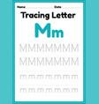 tracing letter m alphabet worksheet