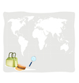 Travel Suitcase and Hat on World Map Background vector image
