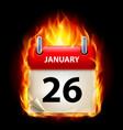 twenty-sixth january in calendar burning icon on vector image vector image