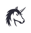 unicorn logo element over white vector image vector image