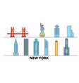 united states new york city flat landmarks vector image vector image