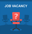 vacancy and office red chair with a question mark vector image vector image