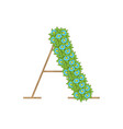 wooden leaves letter a vector image vector image