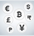 world currency sign bubble button icon design set vector image vector image