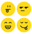 yummy emoticon with happy smile and tongue vector image vector image