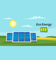 solar panels on the meadow vector image