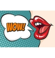 Pop art lips with WOW bubble vector image