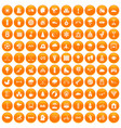 100 kids games icons set orange vector image vector image