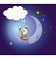 A gray bear leaning over the moon with an empty vector image vector image