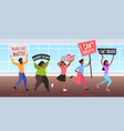 african american protesters with black lives vector image