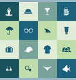 beach icons universal set for web and ui vector image