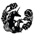 black silhouette magic unicorn vector image vector image