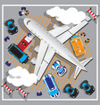 businessman coming out a private jet at termina vector image vector image