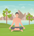 calm man is doing yoga and meditation vector image vector image