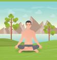 calm man is doing yoga and meditation vector image