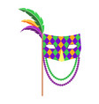 carnival mask with handle and feathers flat vector image vector image