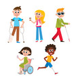 cartoon people with injuries and disabilities vector image vector image