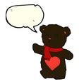 cartoon white teddy bear with love heart with vector image