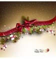 Christmas background with fir twigs garland and vector image