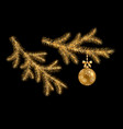 christmas gold branches vector image