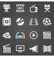 Cinema icons on black background vector image vector image