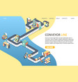 conveyor line landing page website template vector image