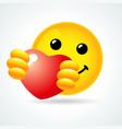 emoji smile hugging a red heart vector image