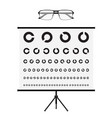 eye test chart and glasses vision exam vector image