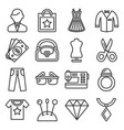 fashion and shopping icons set line style vector image