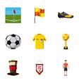 football fans icons set cartoon style vector image