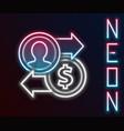 glowing neon line job promotion exchange money vector image vector image