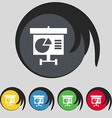 Graph icon sign Symbol on five colored buttons vector image