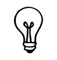 hand drawn bulb doodle icon isolated on white vector image vector image