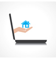 hand holding home comes from laptop screen vector image vector image