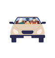 happy family riding on car together front view vector image