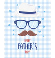happy fathers day moustache glasses hat hearts vector image