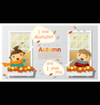 Hello autumn background with little boy and girl vector image vector image