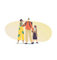 interracial parents and kids multicultural and vector image vector image