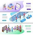 isometric read book banner online library books vector image vector image