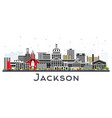 jackson mississippi city skyline with gray vector image vector image