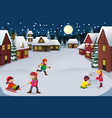 kids playing in a winter wonderland vector image vector image