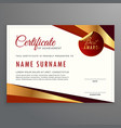 luxury certificate template design with elegant vector image vector image
