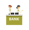 managers working at reception desk at bank office vector image vector image