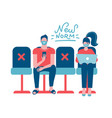 new normal concept - physical distancing people vector image