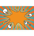 orange yelow rays and dots pop art background vector image vector image