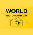 poster with camera silhouette and world vector image