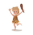 prehistoric cave boy wearing in an animal skin vector image vector image